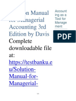 Solution Manual for Managerial Accounting 3rd Edition by Davis
