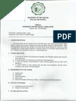 Agrarian Law and Social Legislation Syllabus