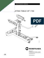 Merivaara OP-1700 Operating Table - Service Manual