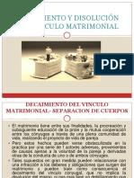 DECAIMIENTO Y DISOLUCIÓN DEL VÍNCULO MATRIMONIAL