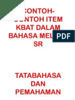 Contoh-contoh Item Kbat Dalam Bahasa Melayu Sr