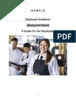 Sample Employee Handbook for Restaurants