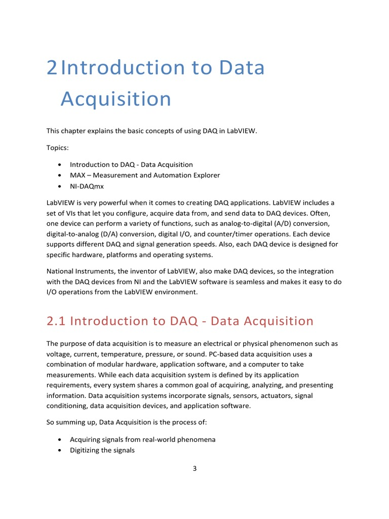 Data Acquisition in LabVIEW | Data Acquisition | Analog To