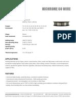 Nichrome60 Wire Data Sheet