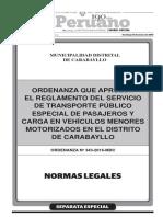 Ordenanza Vehiculo Menor Carabayllo
