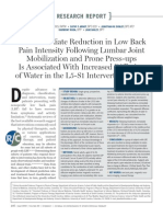 Beattie PF, Arnot CF, Donley JW, Et Al. the Immediate Reduction in Low Back Pain Intensity Following Lumbar Joint Mobilization and Prone Press Ups is Associated With Increased Diffusion of Water in the L5-S1 Inter Vertebral Disc. (2010)