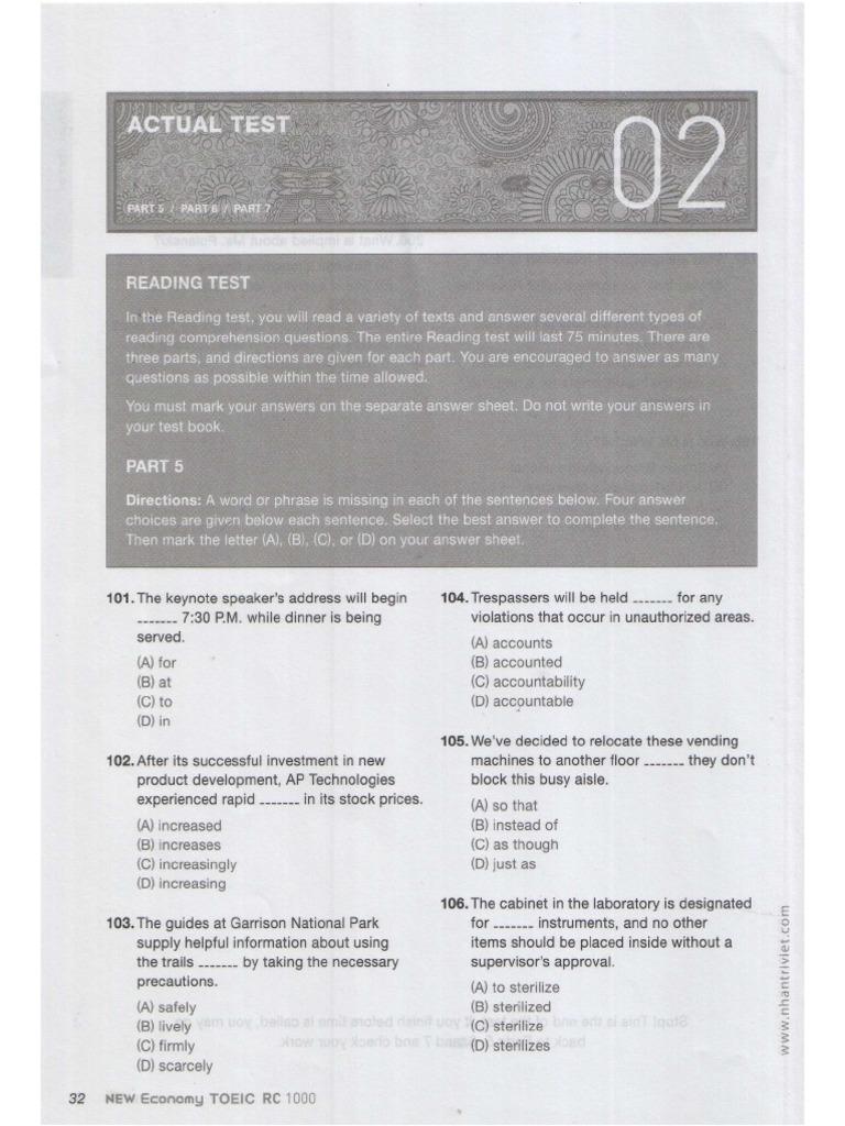 Test 02 Toeic reading test pdf