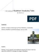 the story of buddhism vocabulary table