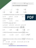 Exercícios - racionalização de denominadores.doc