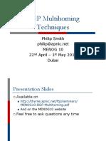 Philip Smith - BGP Multihoming Tutorial