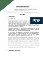 Memoria Descriptiva Colegio Huac-huas