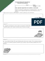Evaluación Educación Matemáticas 3 Basico Resolucion de Problemas