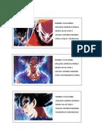 Etiquetas de Goku
