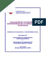 Evaluacion de Los Recursos Subterraneos de La Cuenca Del Río Aconcagua 2004