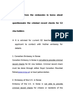"""""""Responses From the Embassies in Korea About Questionnaire the Criminal Record Checks for E2 Visa Holders,"""" MOJ, 2008/01/11"""