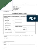 Preliminary Advice of Loss Form