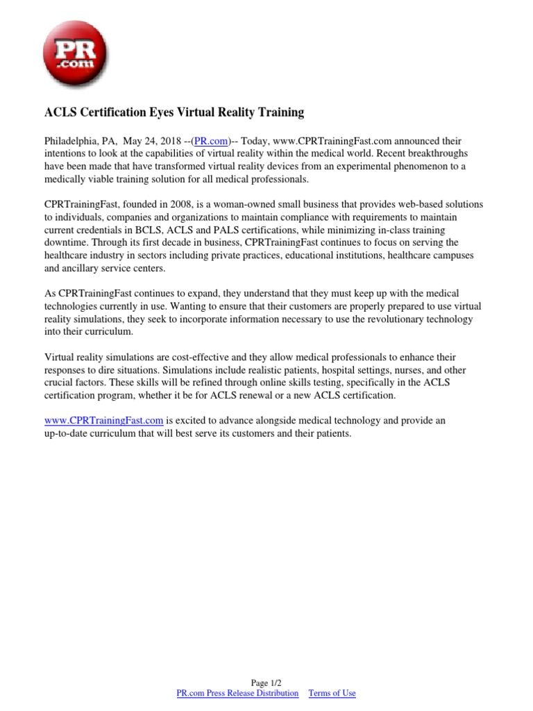 Acls Certification Eyes Virtual Reality Training Virtual Reality