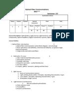 Optical Fiber Communications Syllabus