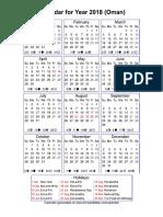 Year 2018 Calendar – Oman