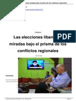 Las Elecciones Libanesas. Miradas Bajo El Prisma de Los Conflictos Regionales