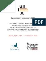Conservacion Reintroductions, Congreso Doñana Establishment of Guidelines 2012