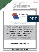Resolución que otorga la licencia institucional a la Universidad Nacional de Barranca para ofrecer el servicio educativo superior universitario