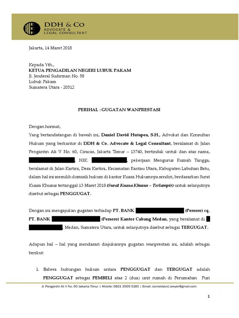 Surat Kuasa Khusus Wanprestasi