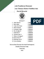 Sejarah Pemikiran Ekonomi, Thomas Robert Malthus dan David Ricardo