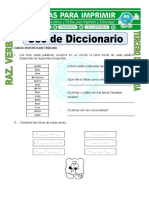 Ficha Uso de Diccionario Para Tercero de Primaria
