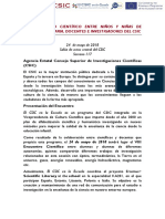 PROGRAMA VIII ENCUENTRO CIENTÍFICO ENTRE NIÑOS, MAESTROS E INVESTIGADORES. 24 de mayo de 2018. Sede Central del CSIC. Madrid.