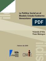 La política social en el modelo Estado/Gobierno venezolano