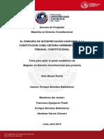 Aldo Blume Rocha - El Principio de Interpretación Conforme a La Constitución Como Criterio Hermenéutico Del Tribunal Constitucional