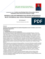 Kendala Dalam Impementasi Sistem Penjaminan Mutu Internal Dan Upaya Penanggulangannya