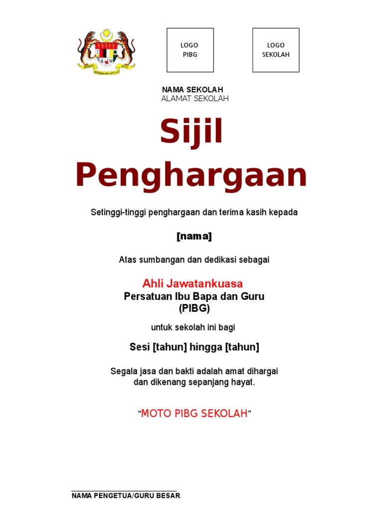 Contoh Sijil Penghargaan Pibg