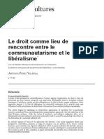 Le droit comme lieu de rencontre entre le communautarisme et le libéralisme
