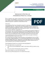 Entrepreneur Visa Summary