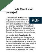 10 caracteristicas Revolución de Mayo