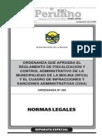 Ordenanza Que Aprueba El Reglamento de Fiscalizacion y Contr Ordenanza
