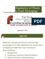 Us FDA Regulation of Plastics Used in Food