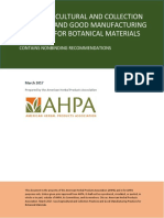 Good Agricultural and Collection Practices and Good Manufacturing Practices for Botanical Materials