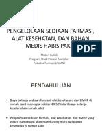Pengelolaan Sediaan Farmasi, Alkes, Bmhp