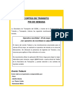Cortes de Tránsito 24.05