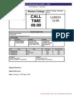 call sheet - 15th may