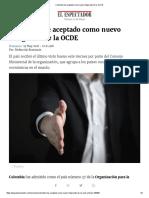 Colombia Fue Aceptado Como Nuevo Integrante de La OCDE
