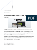 Communiqué Groupe CANAL+ - RECORD D'AUDIENCE POUR myCANAL, 1ère APP TV EN FRANCE