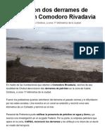 NOTICIA Confirmaron Dos Derrames de Petróleo en Comodoro Rivadavia