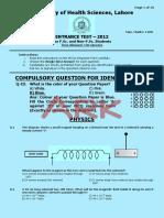 a05. MCAT Uhs Past Paper 2012 - Blue
