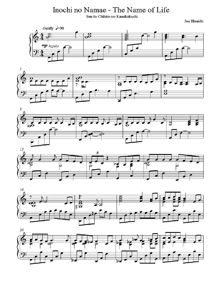 Sheet Music Ayaka Hirahara Inochi No Namae Spirited Away