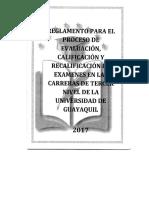 Nuevo 5 y 5 Recalificación de Examanes en Las Carreras de Tercer Nivel de La Universidad de Guayaquil