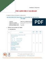 Certificado de Calidad 119-16 Bateas y Canastillos